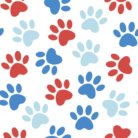 backdrop with silhouettes of cat or dog footprint.red Vector illustration animal paw track pattern. Paw print seamless.