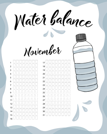 Water consumption per week and month November. Water balance vector calendar. Water monthly tracker.