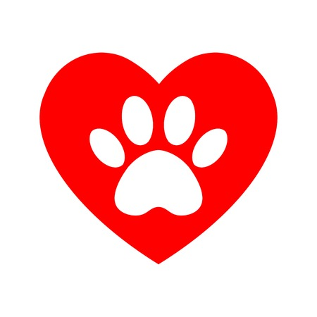 cat and dog paw print inside heart. The dog's track in the heart. Standard-Bild - 122423905