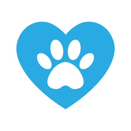 cat and dog paw print inside heart. The dog's track in the heart. Standard-Bild - 122423906