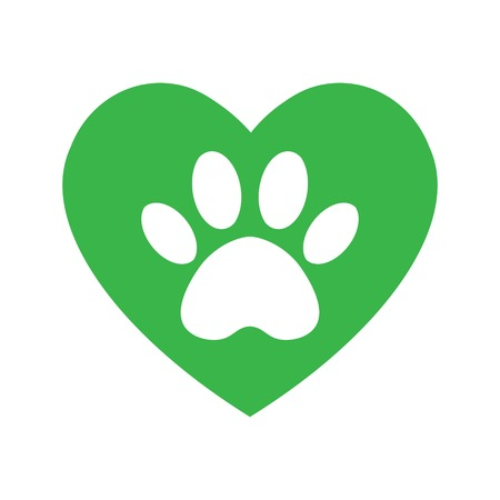 cat and dog paw print inside heart. The dog's track in the green heart. Standard-Bild - 122423913