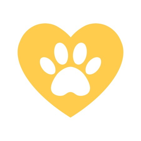 cat and dog paw print inside heart. The dog's track in the yellow heart. Illustration