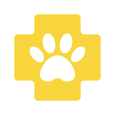 veterinary pharmacy sign. yellow cross with paw veterinary care symbol icon. Standard-Bild - 122423920