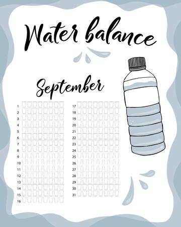 Consumo de agua por semana y mes de septiembre. Calendario de vector de balance de agua. Rastreador mensual de agua. Ilustración de vector