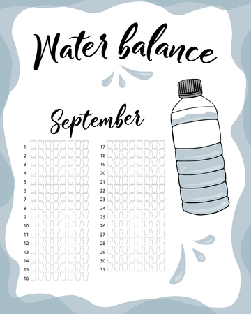 Water consumption per week and month September. Water balance vector calendar. Water monthly tracker.