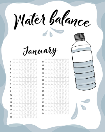 Water consumption per week and month January. Water balance vector calendar. Water monthly tracker.