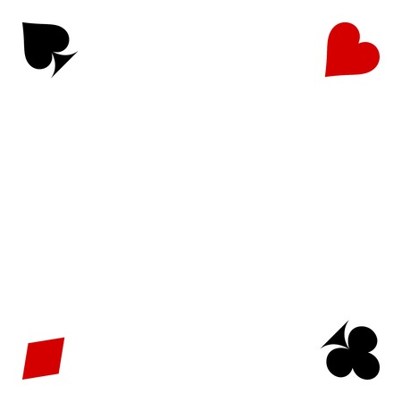 playing card suits isolated on white background. Frame of card suits.