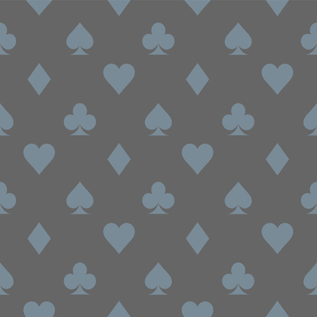 Vector illustration. Card icon gray pattern wallpaper vector background. Card suits seamless pattern.