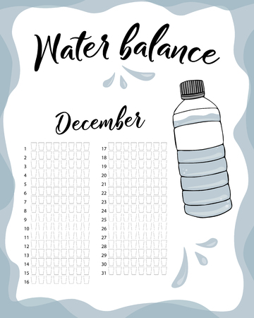 Water consumption per week and month December. Water balance vector calendar. Water monthly tracker.  イラスト・ベクター素材