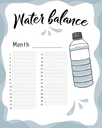Consommation d'eau par semaine et par mois. Calendrier vectoriel du bilan hydrique. Suivi mensuel de l'eau.