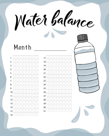 Water consumption per week and month. Water balance vector calendar. Water monthly tracker.  イラスト・ベクター素材