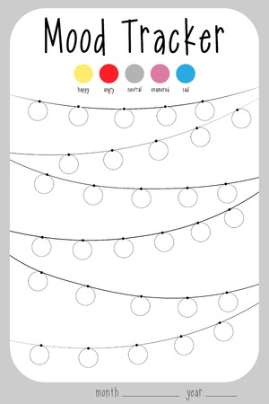 Mood diary for a month. mood tracker calendar. keeping track of emotional state