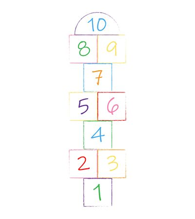 Children street game. playground with numbers. illustration with hopscotch game.