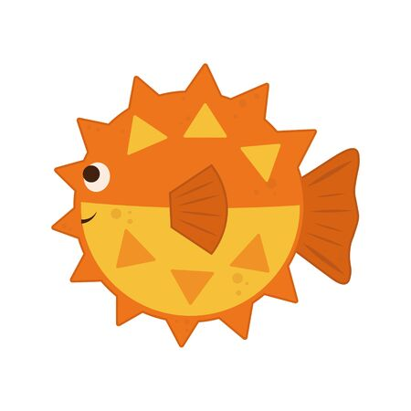 orange globefish isolated on white background. Cute vector illustration cartoon fish Fugu.