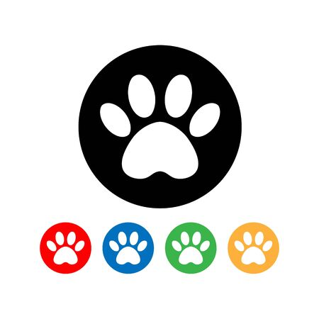 set cat and dog paw print inside circle. The dogs track in the circle.
