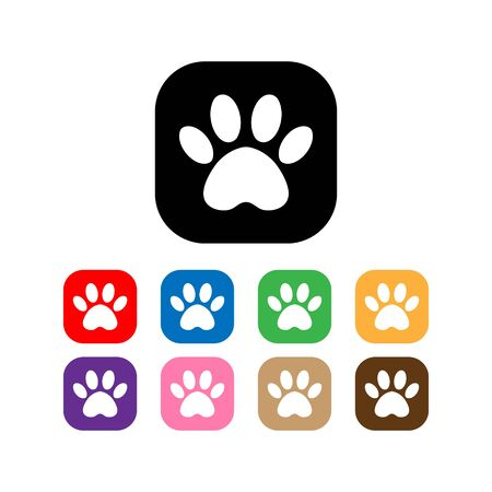 set cat and dog paw print inside square. The dogs track in the square. Illustration