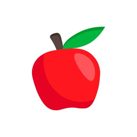 Simple fruit flat icon. Vector red apple illustration isolated on white background.