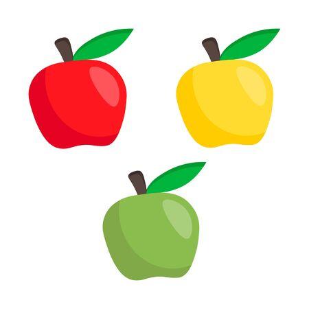 Simple fruit flat icon. set apple illustration isolated on white background. Ilustracja