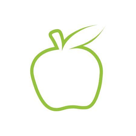 illustration monochrome of apple icon. Green Apple vector outline icon. Modern minimal flat design style. Ilustracja
