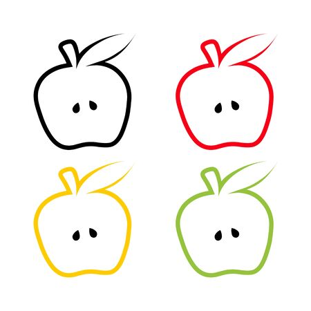 collection simple fruit flat icon. set contour apple illustration isolated on white background.