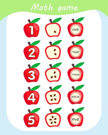 Math educational game for children. Counting Game for Preschool Children. Count apples in the picture. 向量圖像