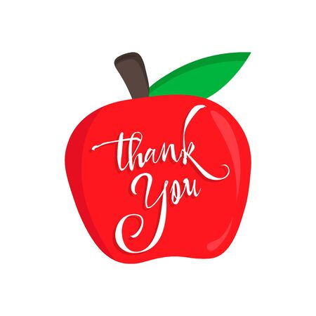 Happy Teachers Day calligraphy. thank you teacher vector card with an red apple.