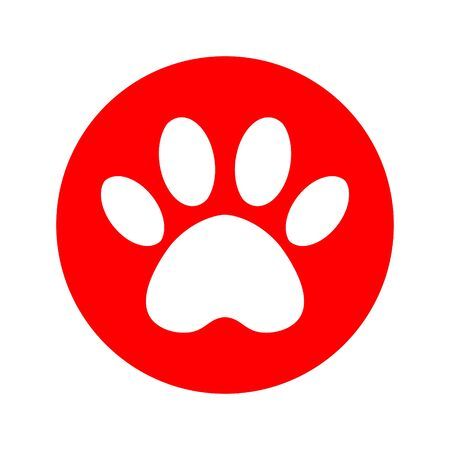 cat and dog paw print inside circle. The dogs track in the red circle.