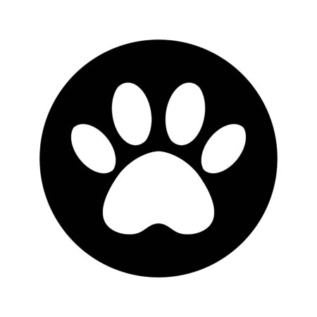 cat and dog paw print inside circle. The dogs track in the black circle. Illustration