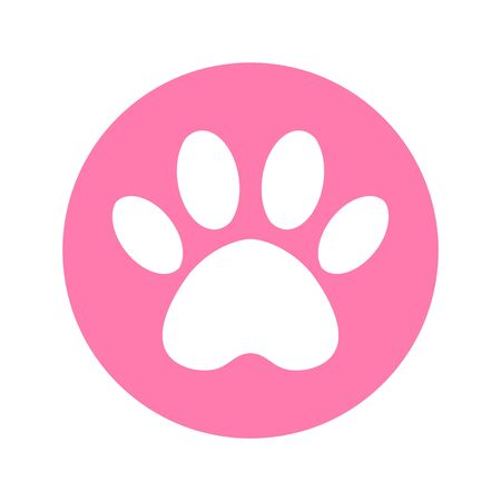 cat and dog paw print inside circle. The dogs track in the pink circle.