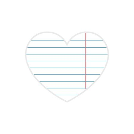 Paper heart cut from paper. Paper heart Valentines day on white background. Vector abstract heart.