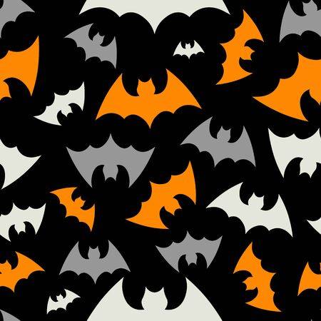 Vector pattern background with bats silhouettes for halloween design. Happy Halloween. Seammles pattern swarm of bats on the black background. 向量圖像