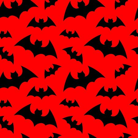 Vector pattern background with bats silhouettes for halloween design. Happy Halloween. Seammles pattern swarm of bats on the red background.