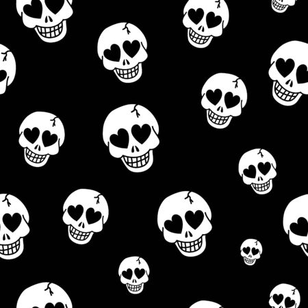 Vector texture. Seamless background with hearts and skulls. Skull love heart pattern. Deadly amur background.