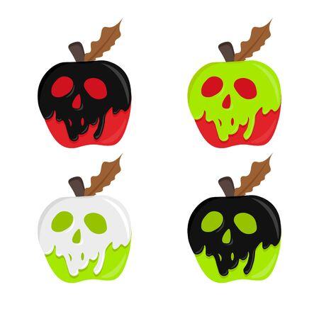 pomme avec du poison. vecteur de pomme empoisonnée. pomme d'illustration magique. concept d'halloween. forme de crâne enrobé de pomme rouge. Vecteurs