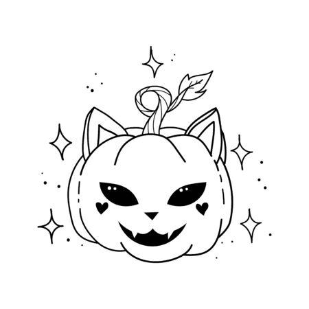 cat head and face carved on a pumpkin drawing. Vector smiling pumpkins cat. magic cat pumpkin. Happy Halloween.