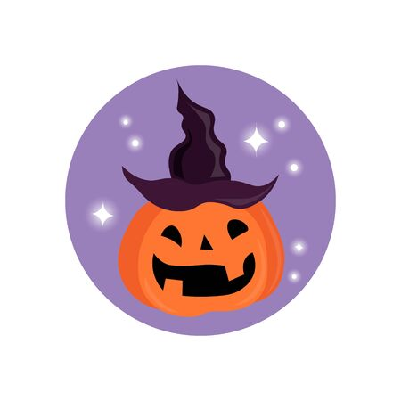pumpkin in a hat. Funny halloween pumpkin with witches hat. simple pumpkin pattern. Happy Halloween. 向量圖像