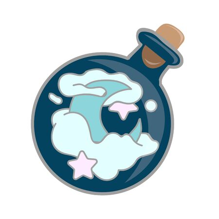 Cute hand drawn round glass of potion. Magic potion: blue bottle jar set with moon, star, cloud. Vector illustration isolated on white.