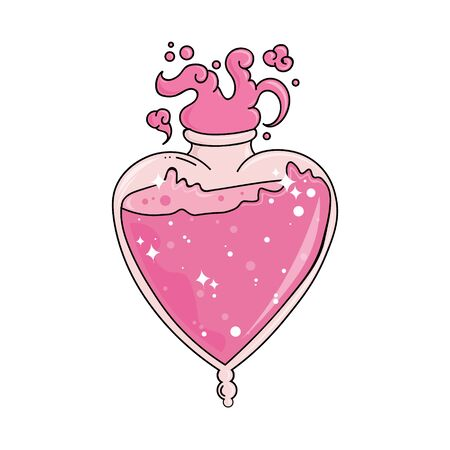 Love potion in heart shaped bottle. Magic love drink isolated on white background. Valentines day. Glass bottle of magic love elixir. hand drawn vector illustration.