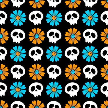 Vector seamless black background with flowers and skulls. just festive flat background. Day of the dead. Happy Halloween.