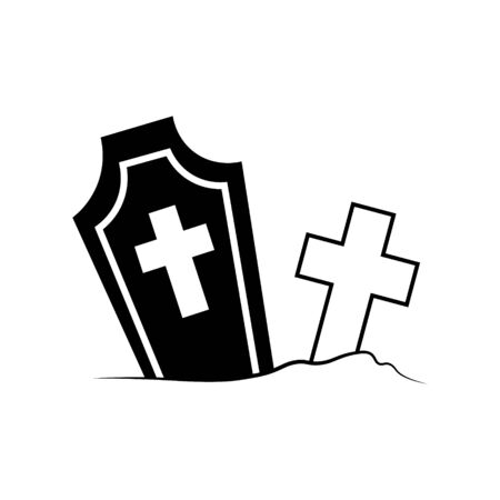 vector line icon Graves. Halloween attribute. Decoration element. Holiday concept. flat illustration tombstone. 向量圖像