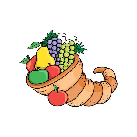 Día de Gracias. Símbolo de la naturaleza del otoño de la ilustración del vector. concepto de vacaciones de otoño de cornucopia. festival de la cosecha de la granja.