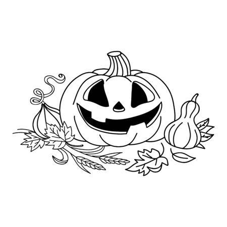 sketch pumpkin with leaves. Pumpkin vector drawing. Isolated outline pumpkin halloween. Hand drawn harvest illustration. Happy Halloween Illustration