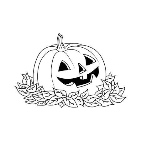 sketch pumpkin with leaves. Pumpkin vector drawing. Isolated outline pumpkin halloween. Hand drawn illustration. Happy Halloween