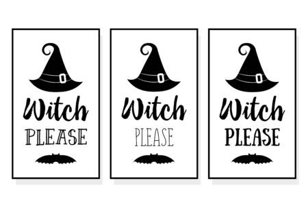 set of halloween poster lettering Witch please. Vector illustration witch hat. Witches black hat. Halloween lettering on silhouette hat. 向量圖像