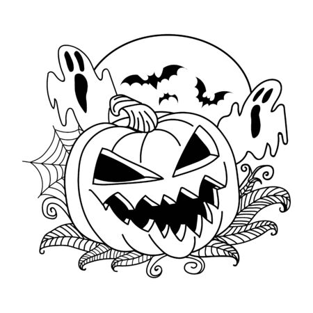 Pumpkin vector drawing. Isolated outline pumpkin halloween. Hand drawn harvest illustration. Happy Halloween. sketch pumpkin with haunted, bats, spider web. 向量圖像