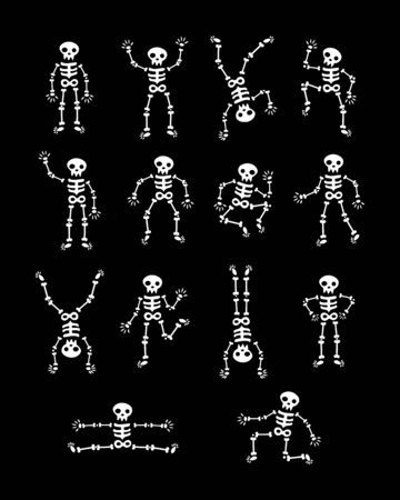 Skeletons dancing. Funny dancing skeleton vector illustration background. the day of the Dead. running and jumping white skeletons. Happy Halloween.