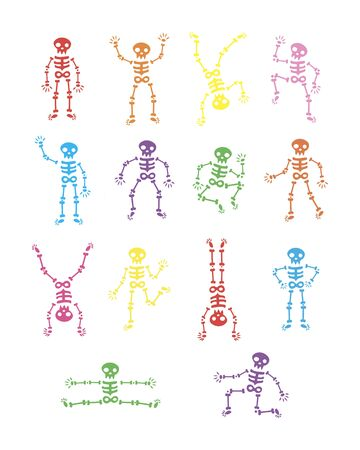 Skeletons dancing. Funny dancing skeleton vector illustration background. running and jumping colored skeletons. the day of the Dead. Happy Halloween.