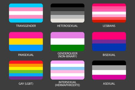 Set of LGBT Pride Flags. Gays, lesbians, asexuals, transsexuals, hermaphrodites, transgender, pansexual, heterosexual, intersexual people. Sexual identity pride flags. Against discrimination Official symbols of the community