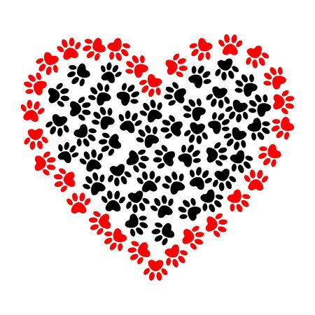 Heart shaped frame made of animal's paw prints. Dog footprints in heart shape illustration. Vector bright heart with dog paw prints symbol. 向量圖像