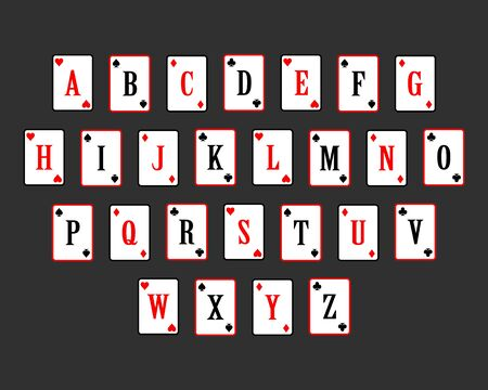 lettering gambling card vector illustration. poker cards alphabet. alphabet playing card. From A to Z.